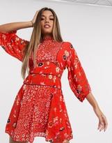 Asos Design DESIGN high neck mini dress in mixed floral print