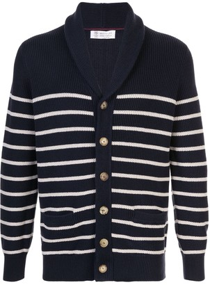 Brunello Cucinelli Striped Ribbed Knit Cardigan