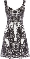 Karen Millen Print Velvet Dress - Black & White