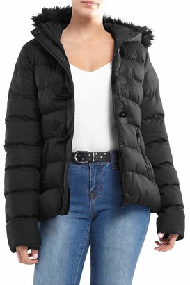 Brave Soul Womens Ladies Designer Faux Fur Hooded Short Jacket Quilted Puffer Padded Coat UK 10 / Small Khaki