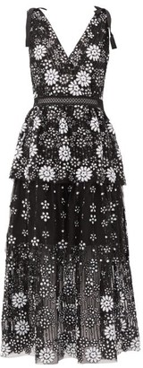 Self-Portrait Floral-sequinned V-neck Tiered Dress - Womens - Black