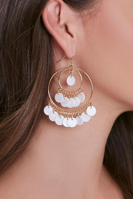 Forever 21 Faux Pearl Drop Hoop Earrings