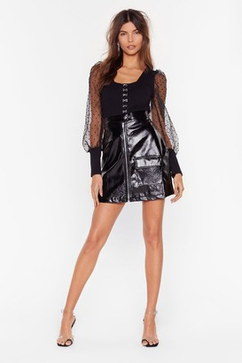 Nasty Gal Womens The Vinyl Step Zip Mini Skirt - Black