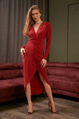 Jenerique Wrap over Midi Dress with Front Slit in Brick Red colour by Jenerique