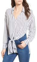 Lush Stripe Tie Waist Blouse