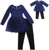 Dollie & Me Navy & Black Glitter Mesh Mini Dress Set & Doll Outfit - Girls