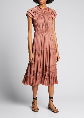 Ulla Johnson Josephine Shirred Ruffle Midi Dress