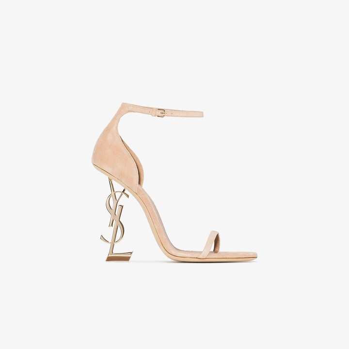 Saint Laurent neutral Opyum 110 suede sandals