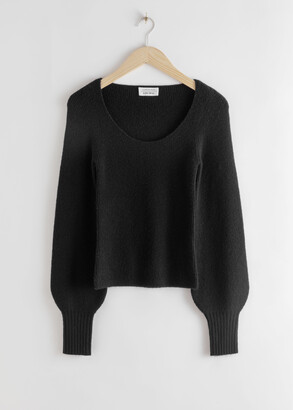 And other stories Scoop Neck Wool Blend Top