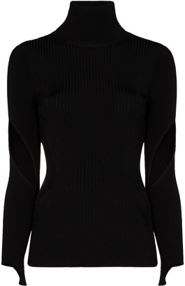 Thierry Mugler Cut-Out Sleeve Ribbed Top