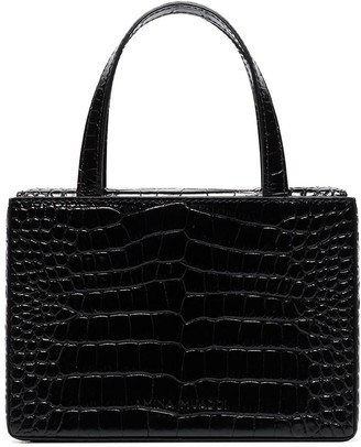 Amina Muaddi Embossed Crocodile-Effect Mini Bag