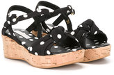 Dolce & Gabbana polka dot wedged sandals - kids - Cotton/Calf Leather/rubber - 31