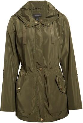 Halogen Hooded Cinch Waist Rain Jacket