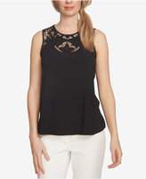 CeCe Floral-Cutout Sleeveless Blouse
