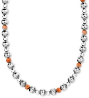 """American West Spiny Oyster Multi-Bead Statement Necklace in Sterling Silver, 15"""" + 2"""" extender"""