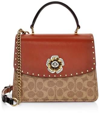 Coach Parker Signature Coated Canvas & Leather Top Handle Bag