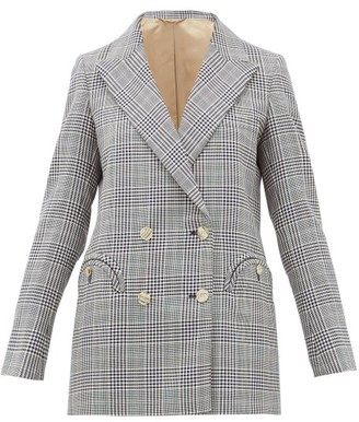 BLAZÉ MILANO Everyday Double-breasted Checked Wool Blazer - Womens - Navy Multi