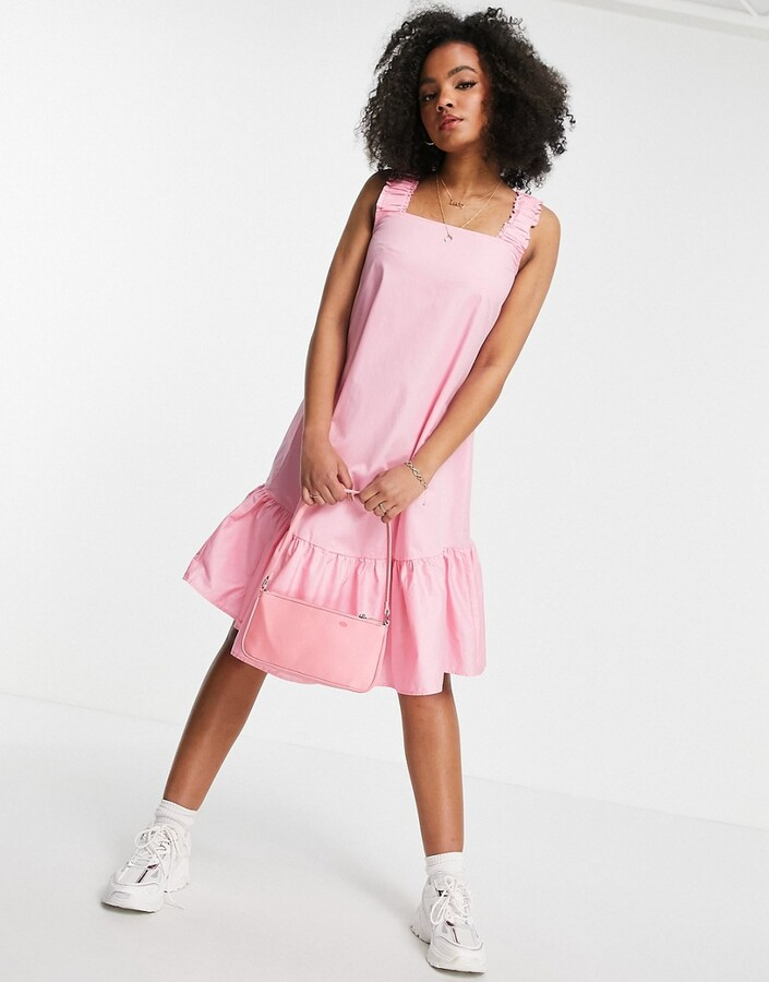 Thumbnail for your product : Qed London sleeveless cotton poplin midi dress in pink