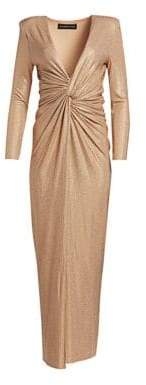 Alexandre Vauthier Sparkly Plunging Column Gown