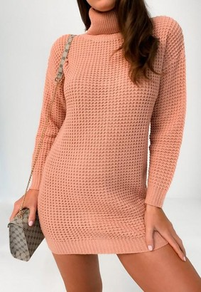 Missguided Petite Pink Turtle Neck Knit Sweater Dress