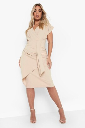 boohoo Plus Bardot Wrap Front Belted Midi Dress