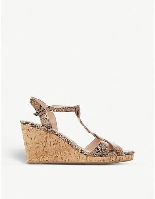 Dune Koala snakeskin-embossed leather wedge sandals