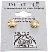 Crystallite Golden Shadow Cab Earrings
