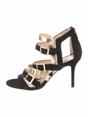 Jimmy Choo Suede Colorblock Pattern Sandals Black