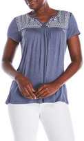 RXB Embroidered Notch Neck Top