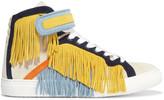 Pierre Hardy Tassel-trimmed suede high-top sneakers