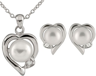 Sterling Silver Freshwater Cultured Pearl Heart Pendant & Earring Set