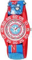 Marvel Boy's 'Captain America' Quartz Plastic and Nylon Automatic Watch, Color:Blue (Model: W003220)