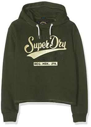 Superdry Women's Real Originals Satin College Crop Hood Hoodie, (Grey Marl Q), (Size: 8)