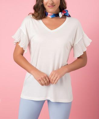 Milan Kiss Women's Blouses ECRU - Ecru Flutter-Sleeve Top - Women