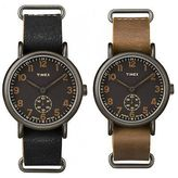 Timex Weekender Oversized | Black Multi-Dial & Leather Strap | Casual Watch