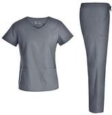 Pandamed Women's Scrubs Bottoms PEWTER - Pewter Roomy Pocket Scrub V-Neck Top & Scrub Pants - Women