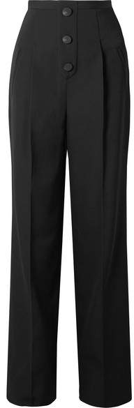 Givenchy Grain De Poudre Wool Wide-leg Pants - Black
