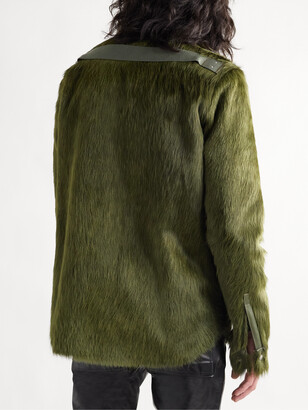 Rick Owens Leather-Trimmed Calf Hair Overshirt
