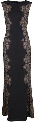 Tadashi Shoji Black Lace Applique Side Panel Detail Sleeveless Gown S