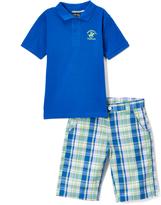 Beverly Hills Polo Club Power Blue Polo & Plaid Shorts - Toddler & Boys