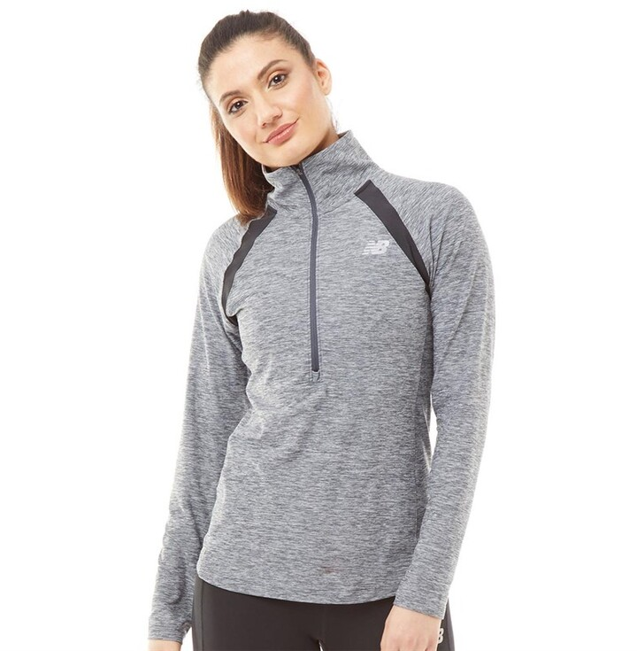 New Balance Womens Heathered Space Dye Reflective 1/2 Zip Running Top Grey