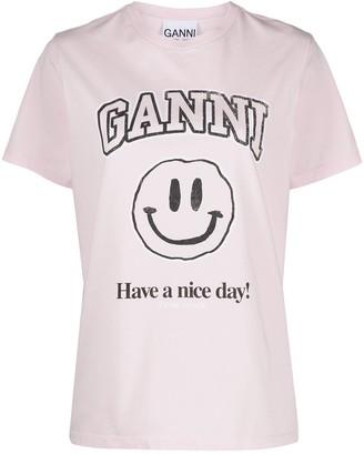 Ganni smiley print T-shirt