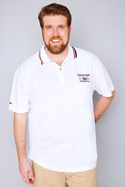 Yours Clothing White Slazenger Vintage Polo Shirt With Striped Collar