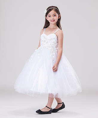 Off-White Chic Baby Girls' Special Occasion Dresses White - White & Floral Embroidered A-Line Dress - Toddler & Girls