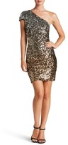 Dress the Population Women's Debbie Ombre Sequin One-Shoulder Dress