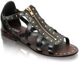 ASOS Leather Zip Front Stud Sandal