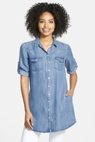 KUT from the Kloth Ruthy Roll Sleeve Chambray Tunic