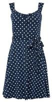 Dorothy Perkins Womens Navy Spot Print Strappy Shirred Dress