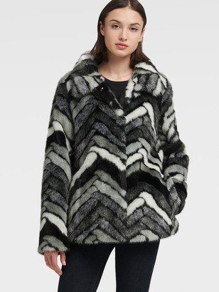DKNY Chevron Stripe Faux Fur Coat