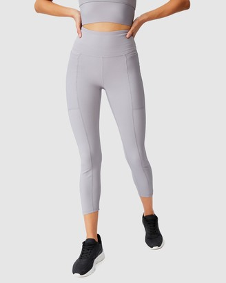 Cotton On Body Active - Women's Grey Tights - Rib Pocket 7-8 Tights - Size XS at The Iconic